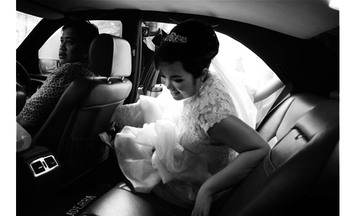 inside wedding car